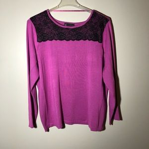 NWT Lane Bryant Sweater with Black Lace Trim 22/24